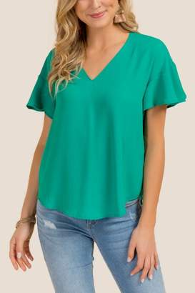 francesca's Kris Flutter Sleeve Basic Top - Jade