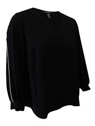 Nine West Women's Plus Size Solid Crepe Long Sleeve Blouse