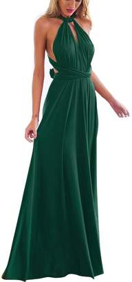 XAS Women's Deep- V Neck Sleeveless Transformer Infinity Wrap Dress Convertible Multi Way Vintage Formal Party Evening Gown Maxi