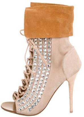 Giuseppe Zanotti Embellished Lace-Up Ankle Boots Nude Embellished Lace-Up Ankle Boots