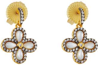Freida Rothman Crystal Clover Drop Earrings