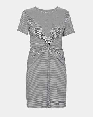 Theory Striped Cotton-Modal Knot Tee Dress