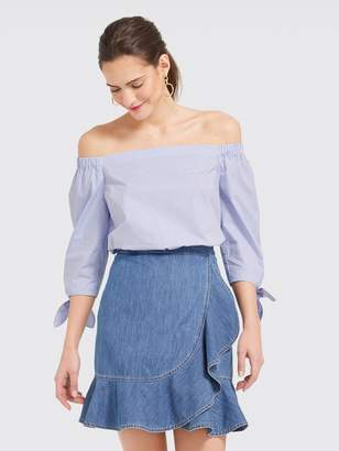 Draper James Blue Stripe Lennox Off the Shoulder Top