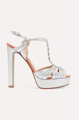 Francesco Russo Metallic Leather Platform Sandals - Silver