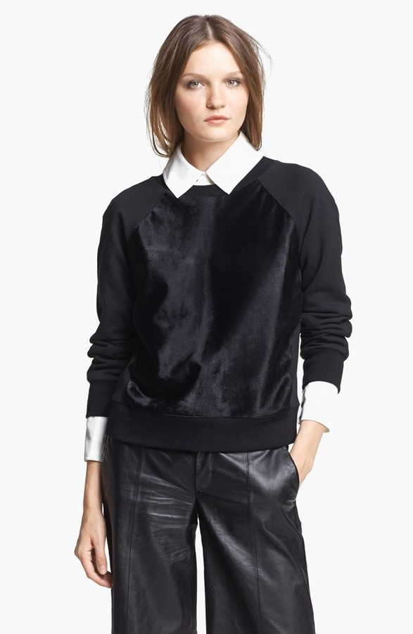 Rachel Zoe 'January' Calf Hair Sweatshirt