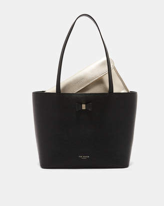Ted Baker DEANIE Bow detail small leather shopper bag