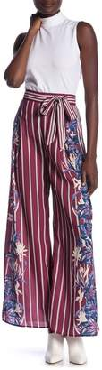 Flying Tomato Floral Stripe Print Waist Tie Pants
