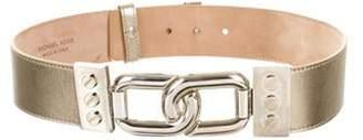 Michael Kors Metallic Leather Waist Belt Pewter Metallic Leather Waist Belt