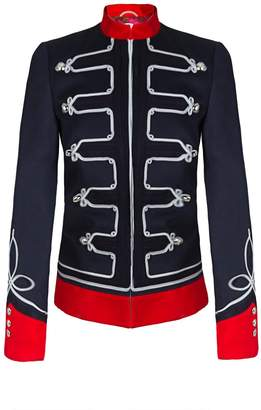 The Extreme Collection - Navy Blue Military Jacket With Embroidiery