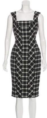 Dolce & Gabbana Virgin Wool Plaid Midi Dress
