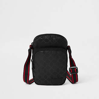 River Island Black mini cross body RI flight pouch