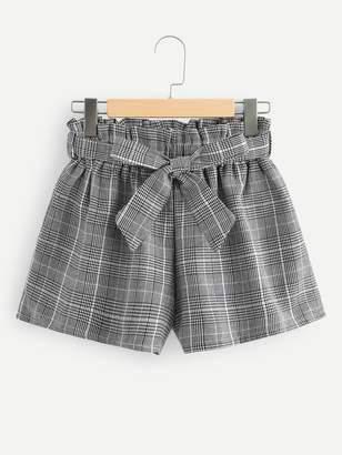 Shein Frill Trim Self Tie Waist Checked Shorts