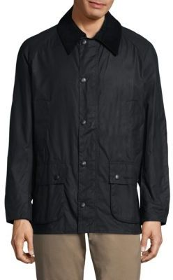 Barbour Ashby Waxed Corduroy-Trim Jacket $399 thestylecure.com