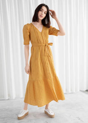 And other stories Belted Floral Schiffli Cotton Midi Dress