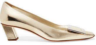 Roger Vivier Belle Viver Decollete Metallic Textured-leather Pumps - Gold