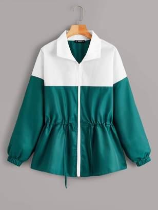 Shein Zip Up Drawstring Waist Two Tone Jacket