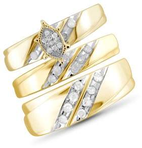 JewelersClub 1/2 Carat T.W. White Diamond Gold Over Silver Trio Engagement Ring Set
