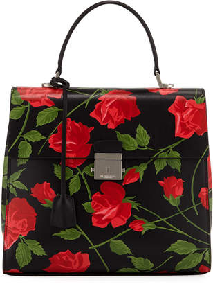 Michael Kors Stemmed Roses Leather Top Handle Bag