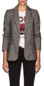 Frame Women's Classic Wool Plaid Twill One-Button Blazer - Gray