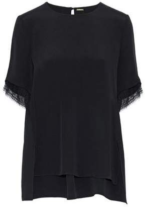 ADAM by Adam Lippes Lace-Trimmed Silk T-Shirt