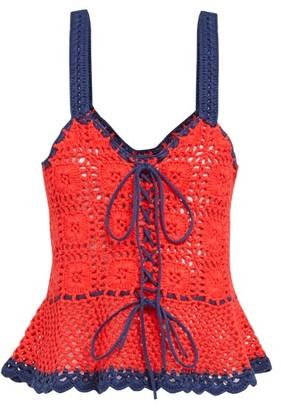 STAUD Shrimp Lace Up Cotton Crochet Peplum Top - Womens - Red Multi