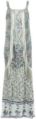 Anna Sui Fringe-trimmed Metallic Printed Fil Coupe Silk-blend Maxi Dress