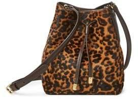 c85a5ea1b8 Lauren Ralph Lauren Leopard Debby II Calf Hair and Leather Drawstring Bag