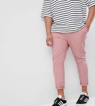 Asos DESIGN Plus Super Skinny Crop Chinos In Pastel Pink
