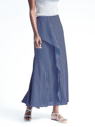 Micro-Stripe Ruffle Maxi Skirt $118 thestylecure.com