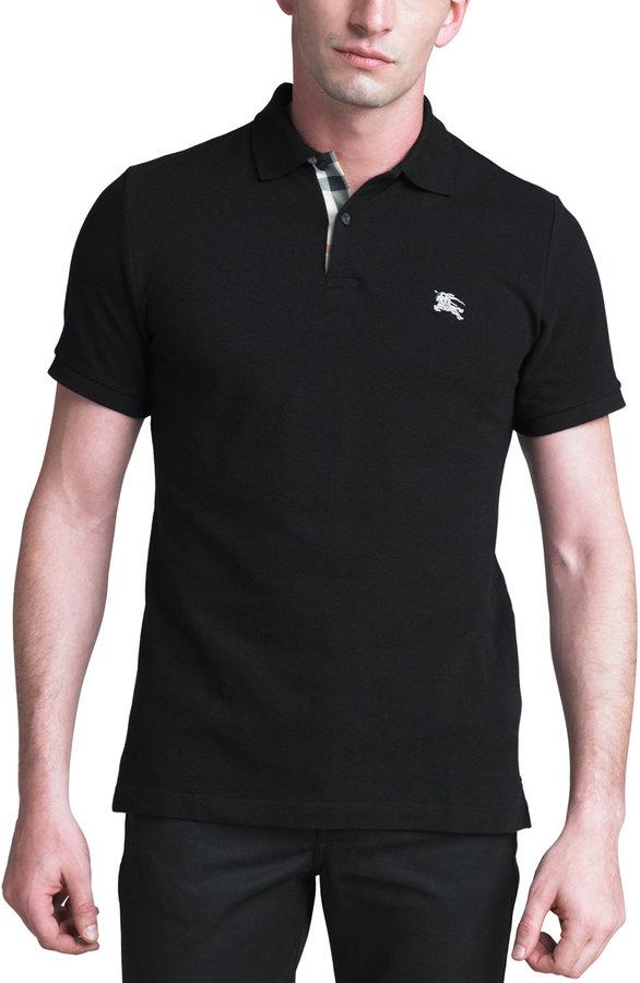 Burberry Modern-Fit Logo Polo, Black