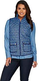 C. WonderC. Wonder Quilted Zip Front Lattice Print Vest with Pockets