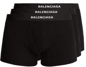 Balenciaga Set Of Three Logo Embroidered Cotton Boxer Trunks - Mens - Black