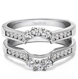 TwoBirch Brilliant Moissanite Mounted in Sterling Silver Royalty Inspired Half Halo Ring Guard Enhancer (0.47ctw)