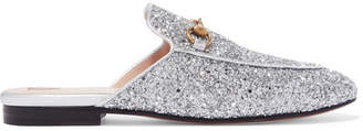 Princetown Horsebit-detailed Glittered Leather Slippers - Silver