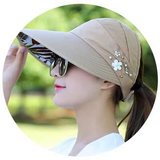 1fc5dc17b91db FAT SHEEP-Sun Caps Hot 1Pcs Women Summer Sun Hats Pearl Packable Sun Visor  Hat