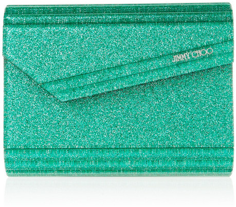 Jimmy Choo The Candy glitter-print acrylic clutch
