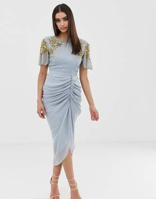 Virgos Lounge embellished midi dress with ruched skirt detail in blue