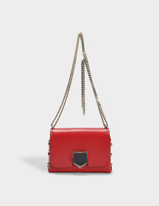 Jimmy Choo Lockett Petite Bag in Red and Chrome Spazzolato Leather