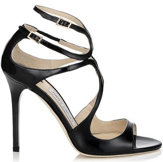 Jimmy Choo LANG Black Patent Strappy Sandals
