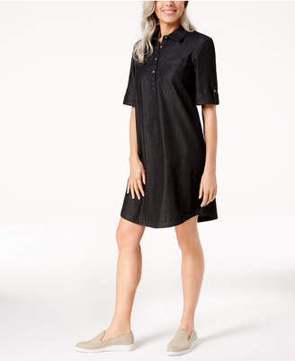 Karen Scott Cotton Chambray Shirtdress