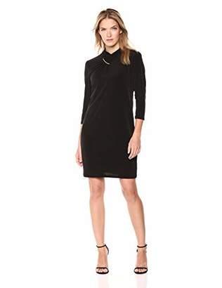 Calvin Klein Women's HIGH Neck WRAP Dress with Hardware