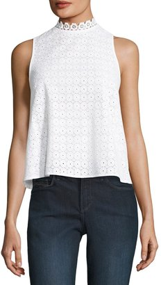kensie High-Neck Eyelet Sleeveless Top $45 thestylecure.com