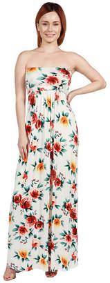 24/7 Comfort Apparel 24Seven Comfort Apparel Bethany Strapless Green and Black Empire Waist Maxi Dress - Plus