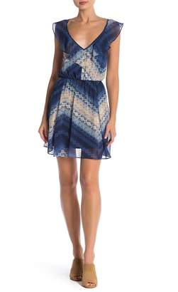 BCBGeneration Ruffle Front Print Dress