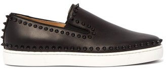 Christian Louboutin Boat Stud Embellished Leather Slip On Trainers - Mens - Black