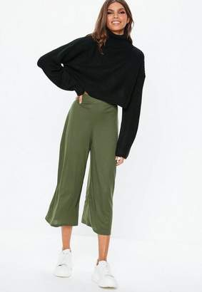 Missguided Khaki Ribbed Culotte Pants