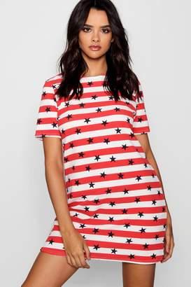 boohoo Kara Stars & Stripes Short Sleeve Shift Dress