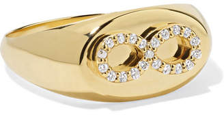 Foundrae - Baby Infinity 18-karat Gold Diamond Signet Ring