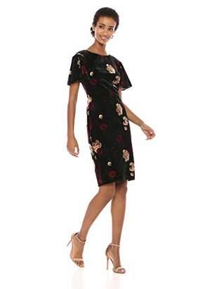 Calvin Klein Women's Velvet Sheath with Flutter Sleeve