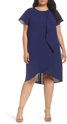 Adrianna Papell Crepe Ruffle Drape Shift Dress